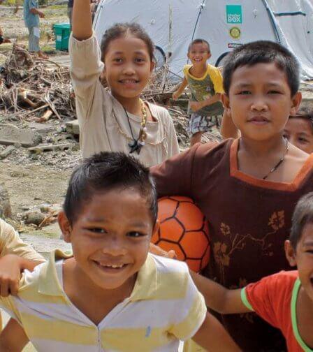 Smiling cheering happy children banner