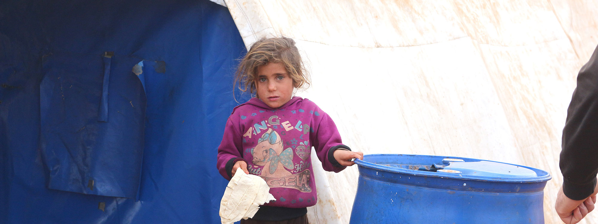 syrian girl in displacement camp