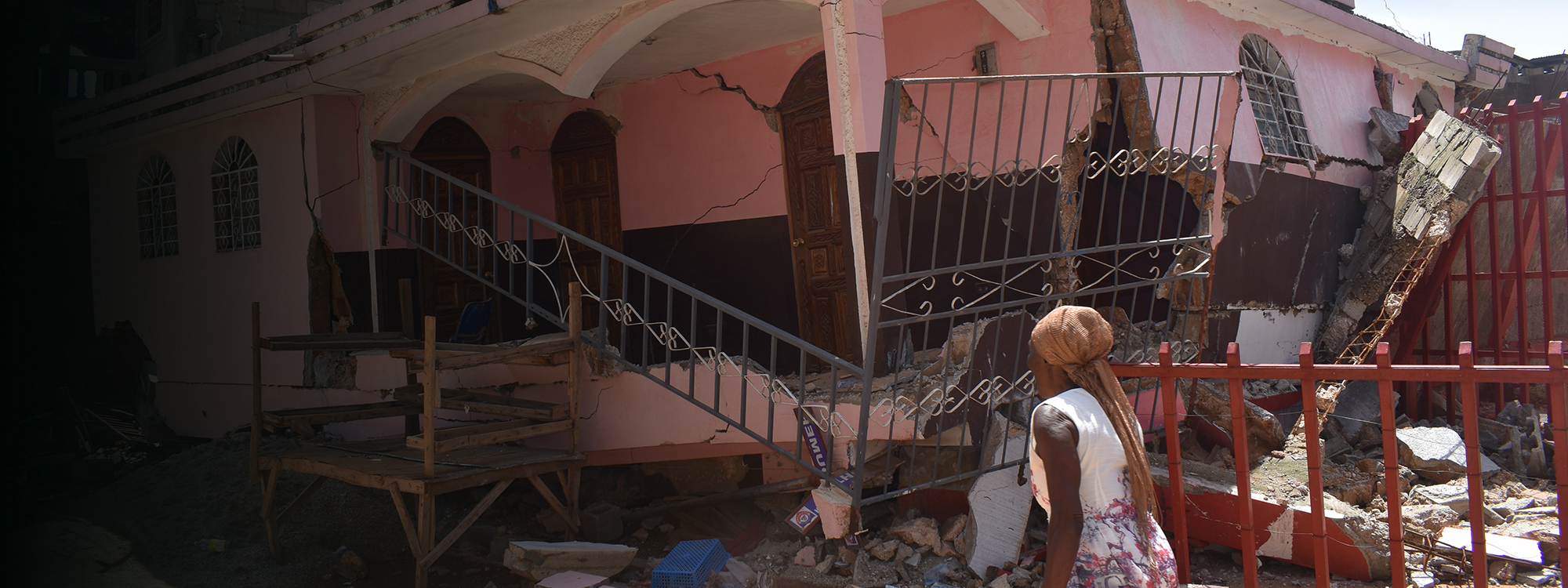 A destroyed home in Haiti after the earthquake in August 2021